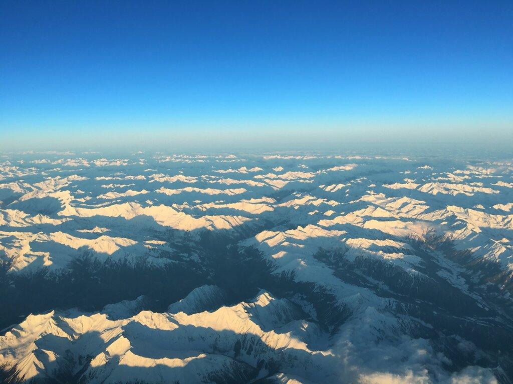 21.01.2016 München - Turin | Sonnenaufgang über den Alpen